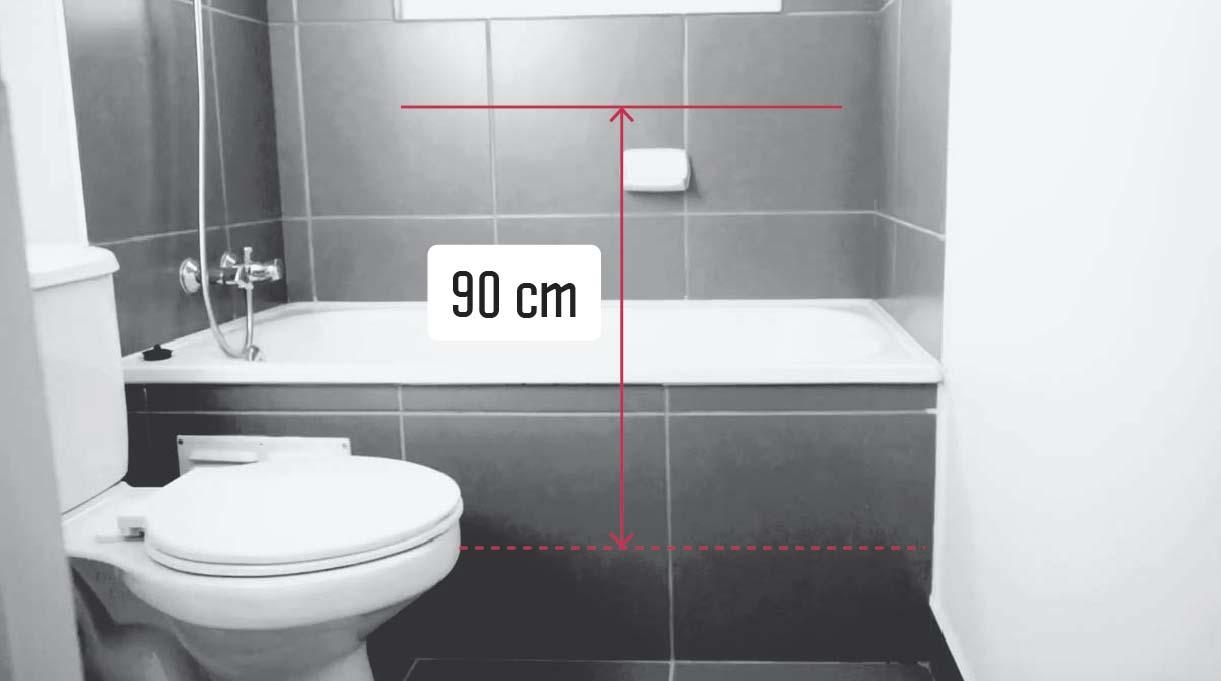 Medir 90 cm desde el piso de la ducha