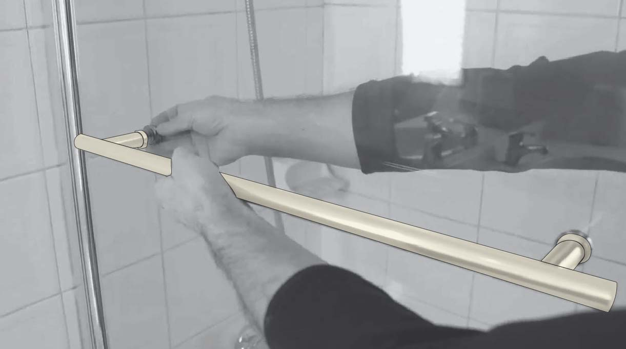 Instala la barra para toalla en la parte externa del vidrio