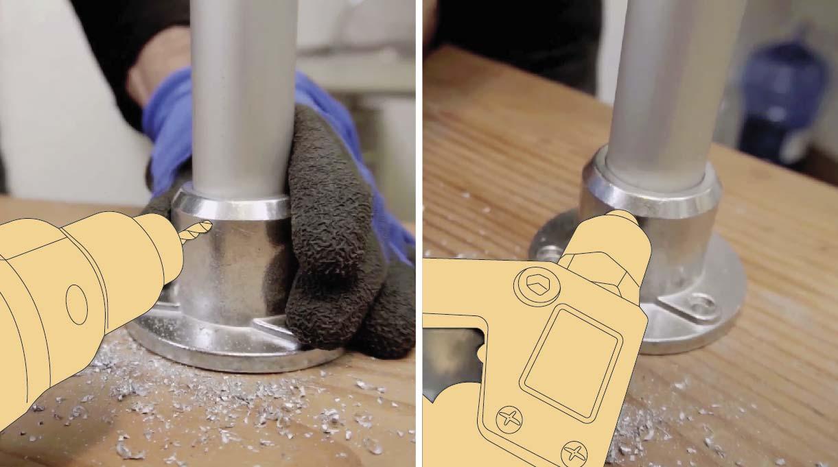Fijar las bases haciéndoles una perforación y colocando los remaches pop