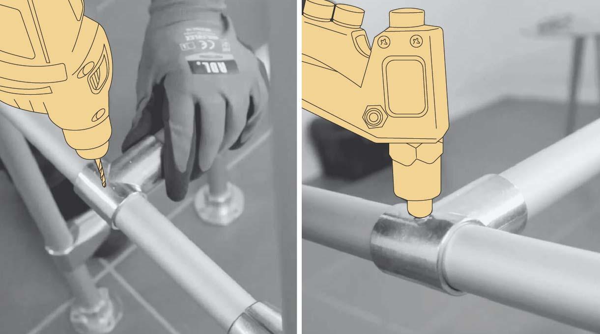 Perforar la unión y tubo con la broca para metales de 4 mm y hacer el agujero que permite fijar el remache pop que junta los 2 pares de patas