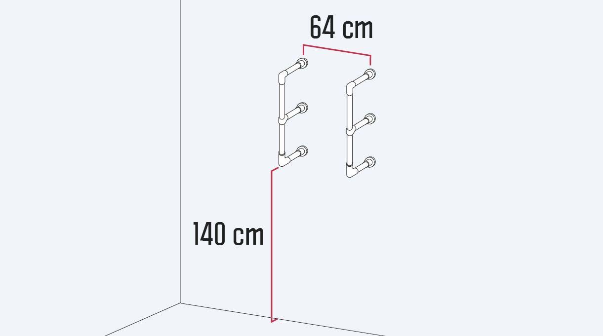 instalar los soportes en el muro a 140 cm desde el piso y a 64 cm entre sí, a eje del tubo