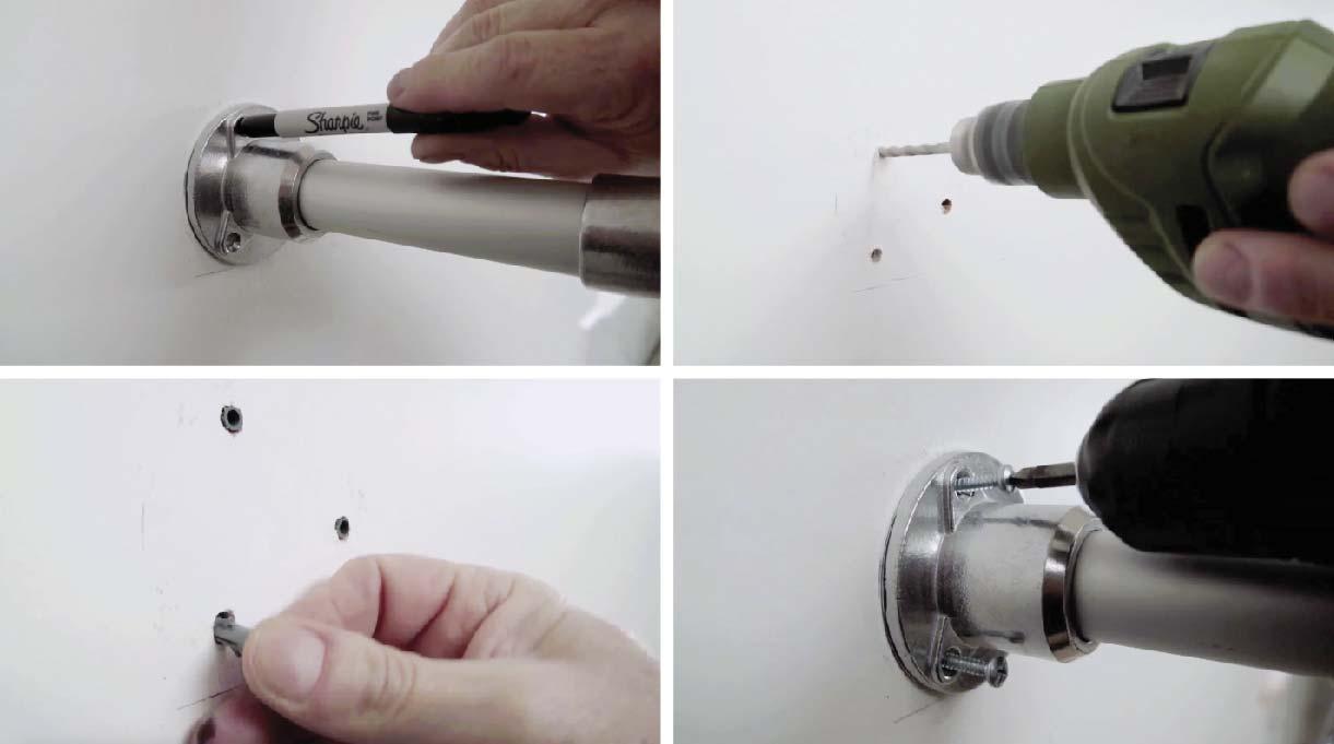 Marcar los agujeros de las bases en el muro con el lápiz marcador, perforar con el taladro, colocar tarugos nylon y fijar con tornillos roscalata los soportes de la repisa de cocina