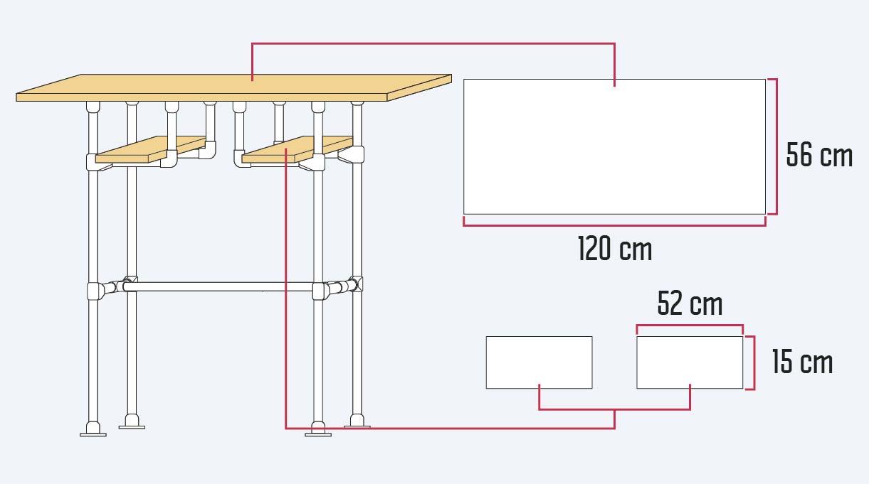 Dimensionar una plancha de terciado en un trozo de 120 cm x 56 cm para la cubierta y 2 trozos de 15 x 52 cm para las repisas