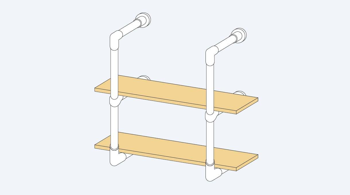 Repisa de cocina con dos repisas o trozos de 80 cm x 18 cm