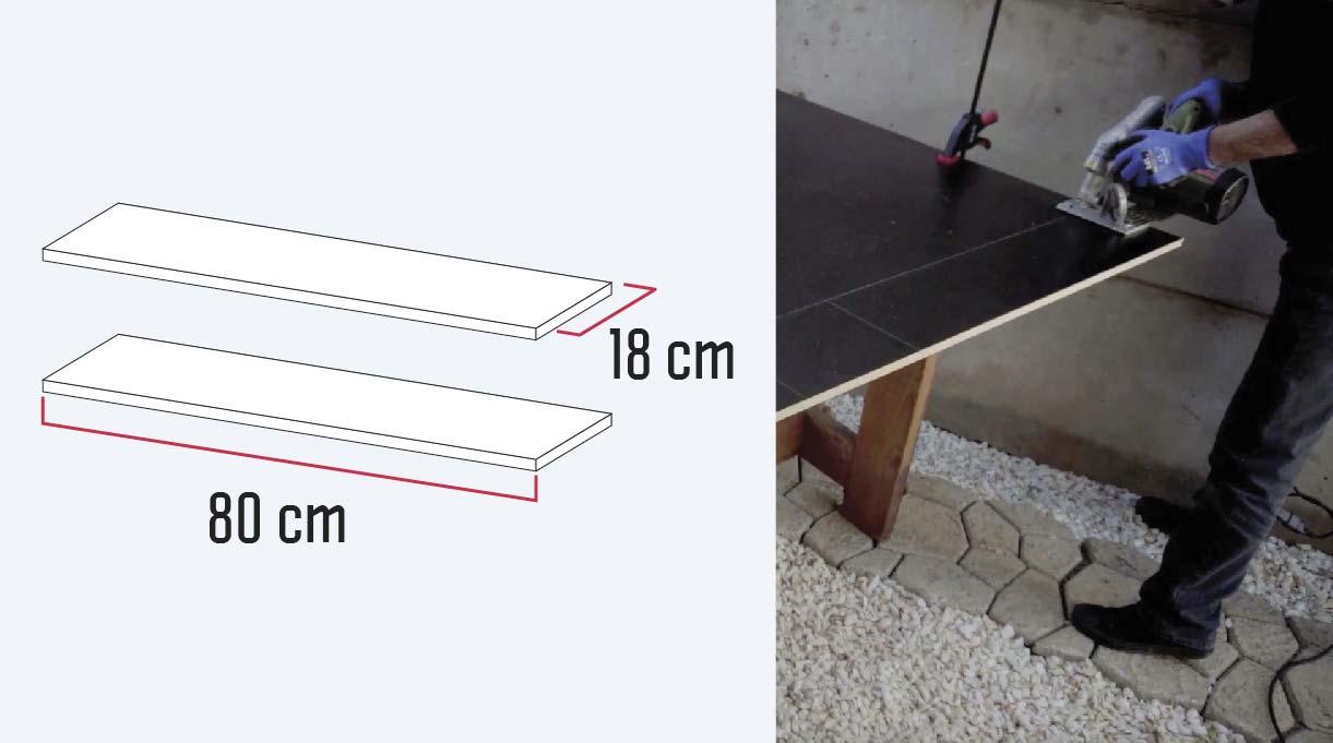 cortar los dos trozos de melamina de 80 cm x 18 cm con sierra circular