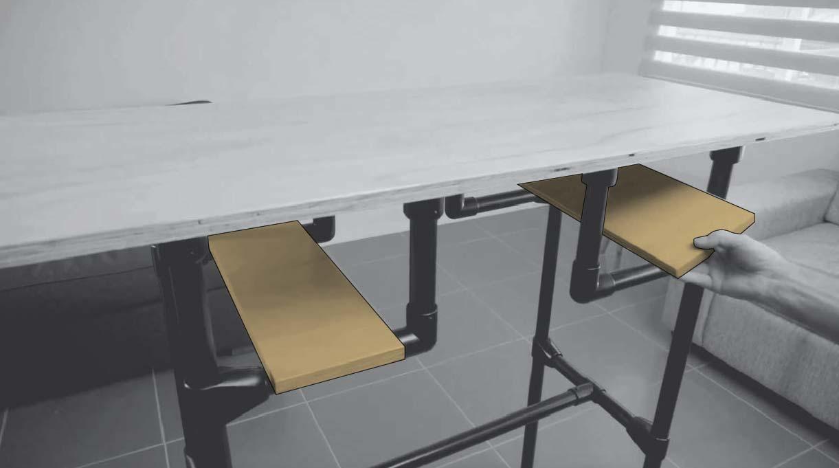 Instalar las dos repisas del escritorio en su lugar