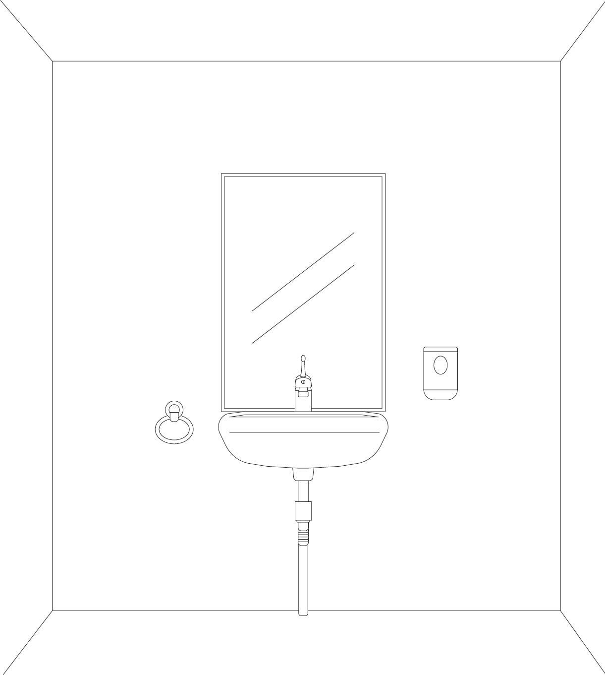 espejo, toallero, dispensador de jabón y lavamanos con accesibilidad universal