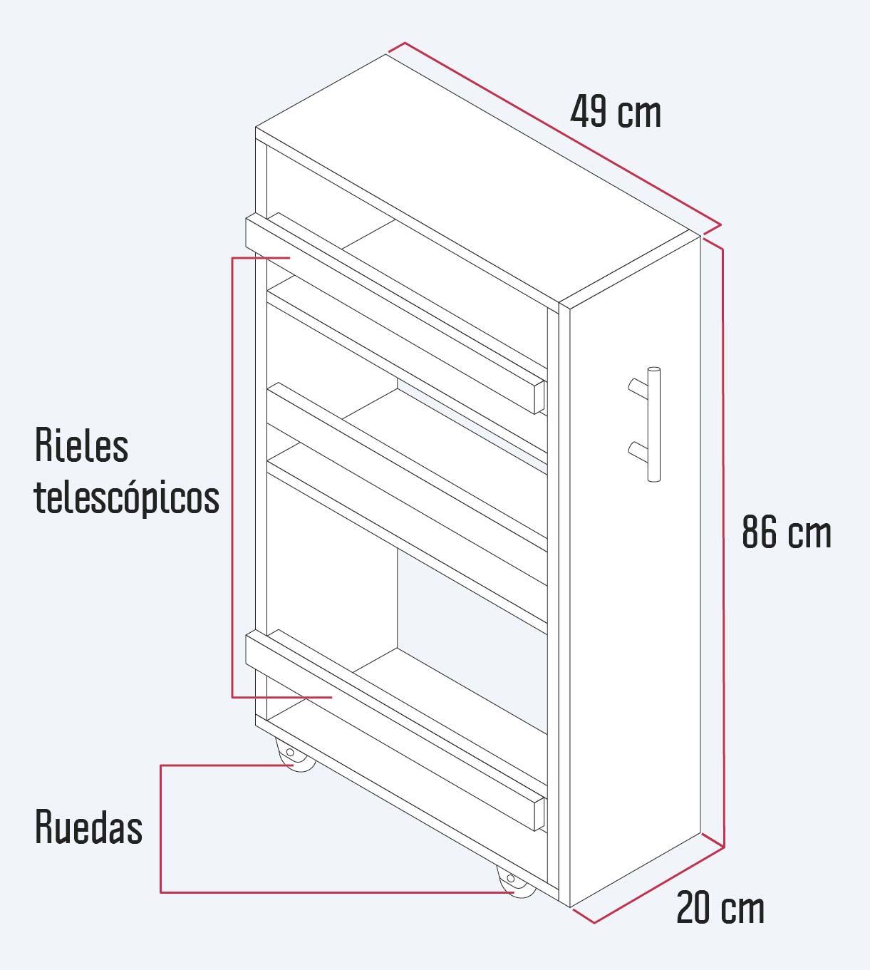 despensa para cocina construida en melamina blanca. Mide 86 cm de alto, 49 de profundidad, y 20 de ancho. Tiene ruedas y rieles telescópicos