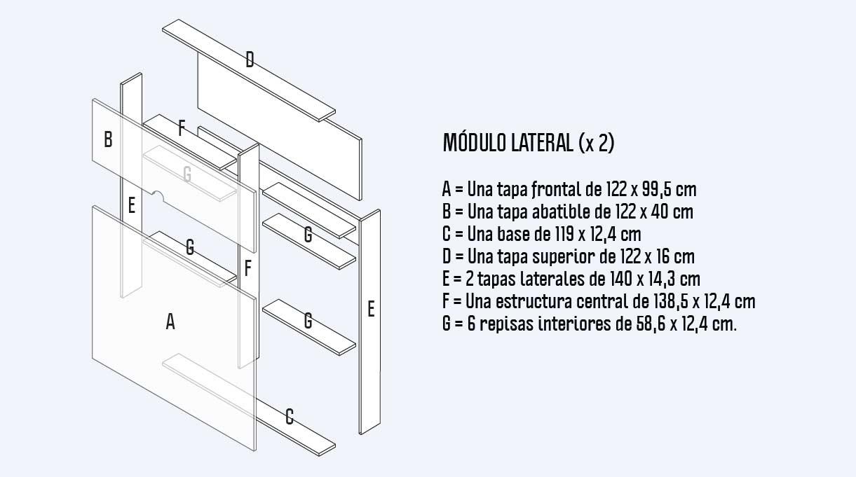 cortes para los dos módulos laterales del maxi respaldo para cama