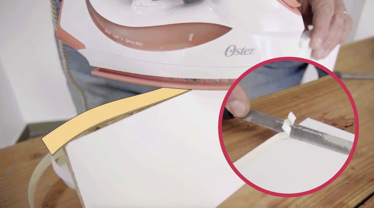 planchar el tapacantos y cortar el exceso con lima de carpintería