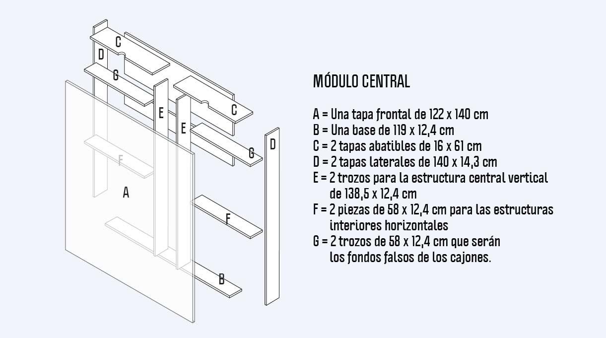 cortes para el módulo central del maxi respaldo para cama