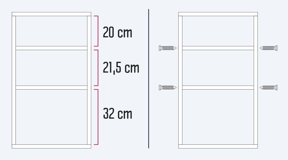 Acomoda los cortes de melamina, dejando 20 cm libres para la primera repisa, 21,5 cm para la segunda, y 32 cm para la tercera