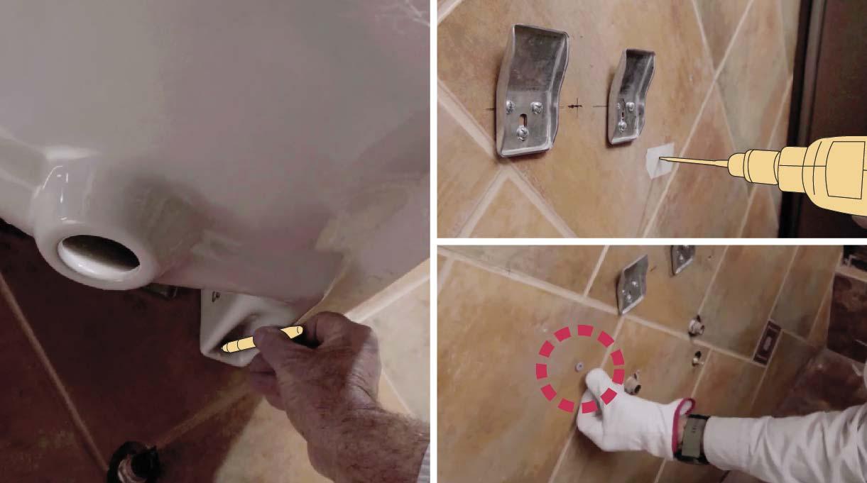 marca los agujeros inferiores del lavamanos con accesibilidad universal en el muro, hacer los agujeros con el taladro e instalar los tarugos