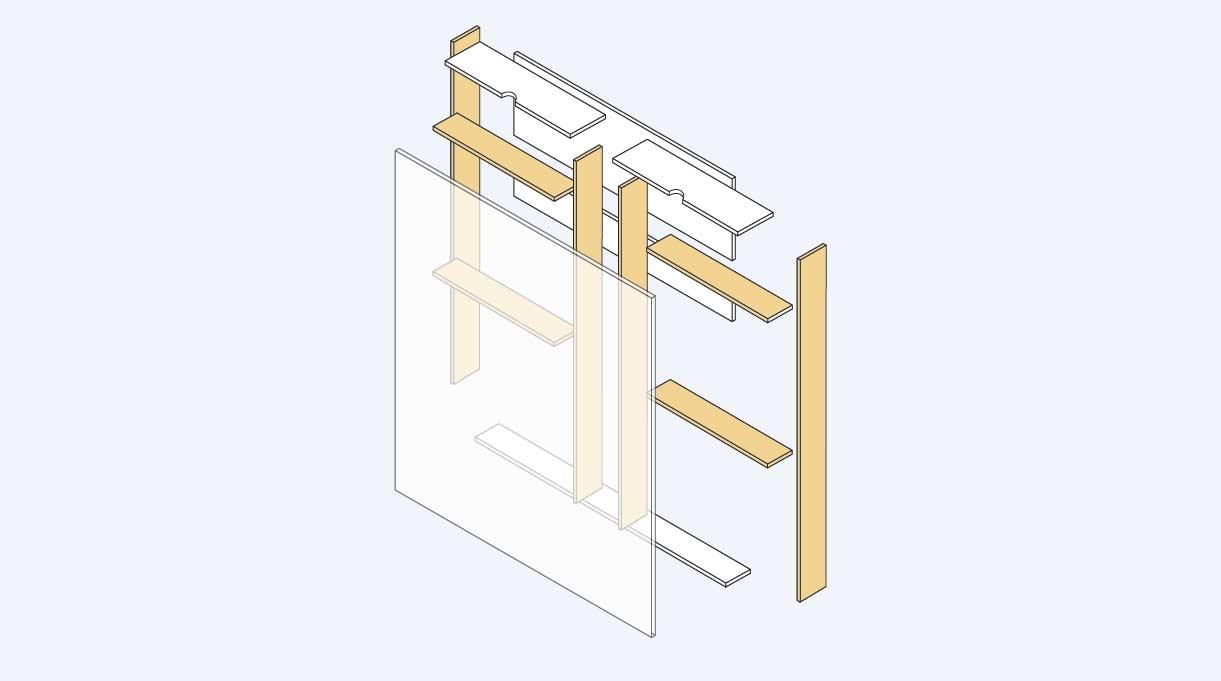 armar el módulo central con 2 verticales de 138,5 x 12,4 cm al medio y fijando en cada uno de ellos los cortes horizontales de 58 x 12,4 cm
