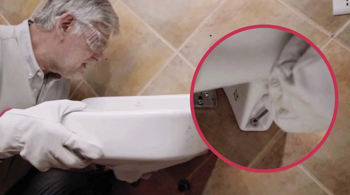 montar el lavamanos con accesibilidad universal y atornillarlo al muro