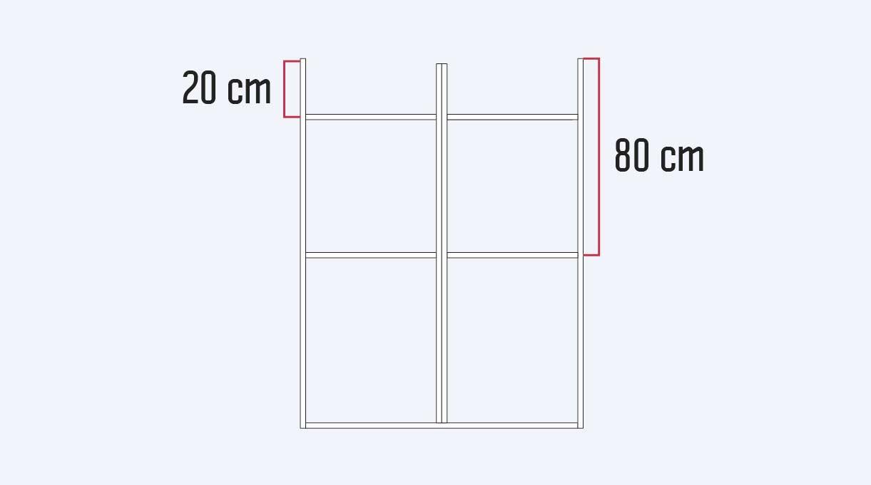 Un primer horizontal va a los 20 cm y el segundo a 80 cm desde el borde superior