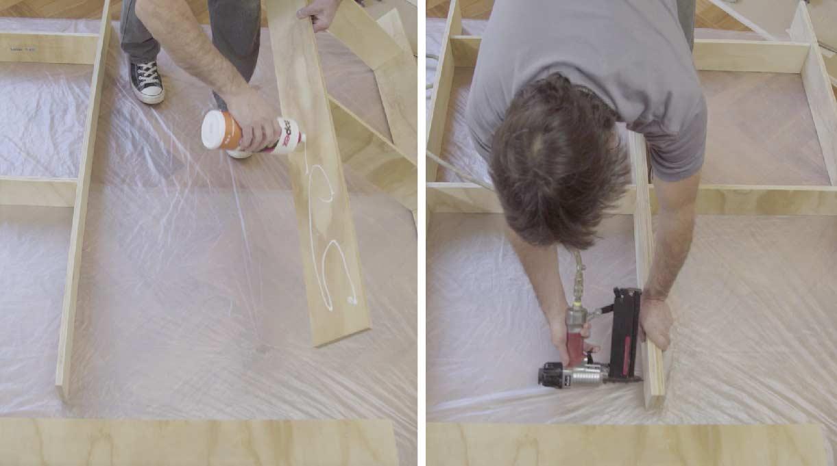 Unir el par de haches encolando los verticales del centro y fijando con la clavadora neumática
