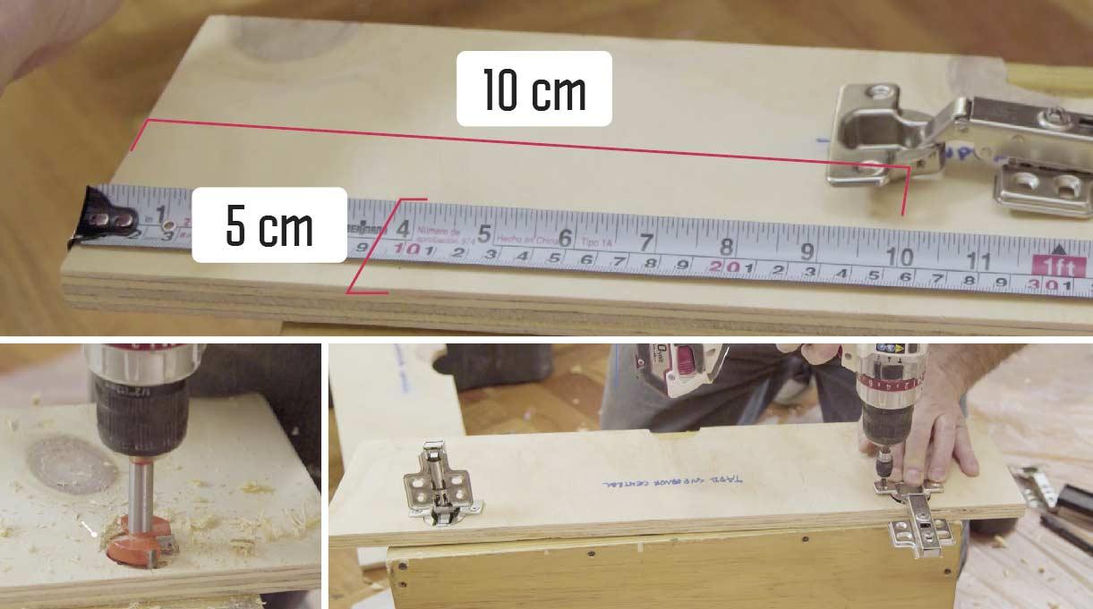 Fijar el frente y las tapas de arriba con una bisagra recta a 10 cm desde los costados y a 5 cm del borde