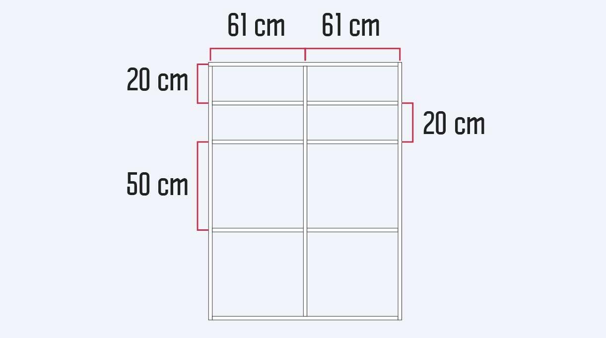Los cortes de los módulos laterales son 3 verticales que van en los extremos y al centro a los  61 cm y los 6 horizontales van en pares, los primeros a 20 cm desde el borde superior, luego dos más a 20 cm y a continuación, los últimos dos a 50 cm