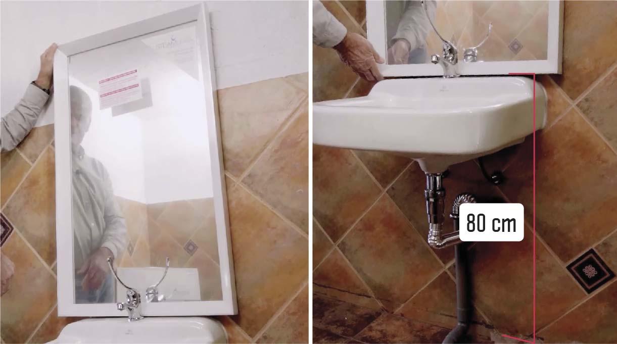 instalar el espejo a los 80 cm del suelo