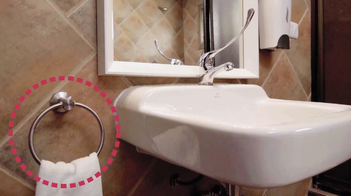 Instalar el toallero al otro lado del dispensador del jabón, a 80 cm del piso y a la misma altura del lavamanos con accesibilidad universal