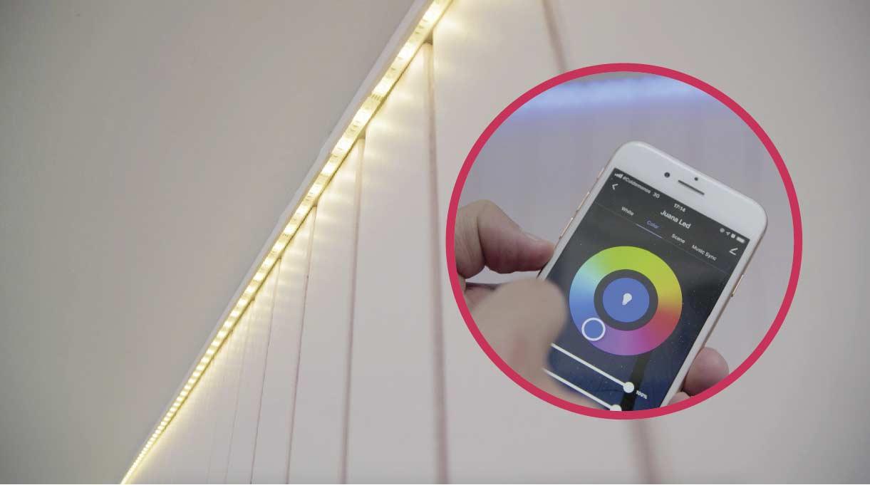 cinta LED iluminada se puede controlar desde una app en el celular