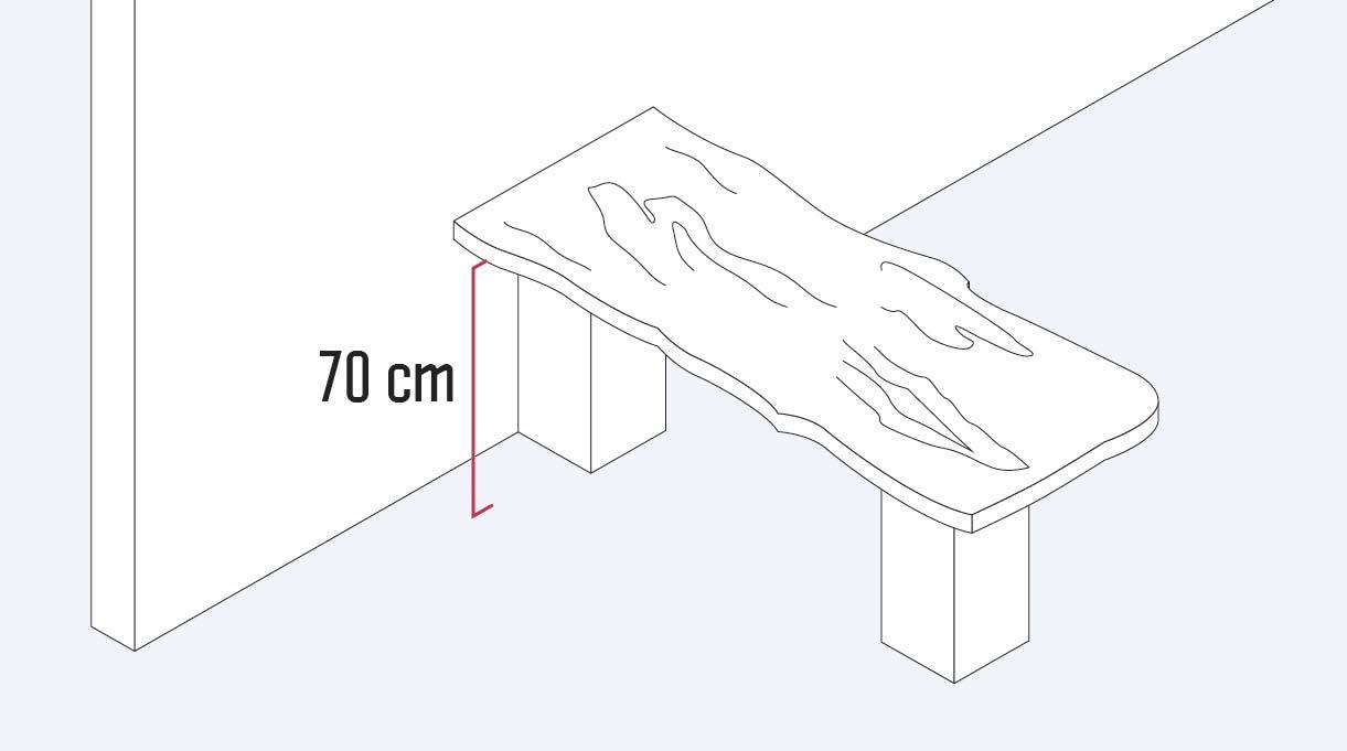 dejar 70 cm libres del piso a la mesa para que tenga accesibilidad universal