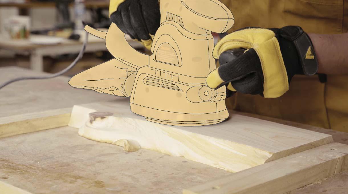 Lijar la madera para mejorar los bordes con el pulido y quitar las líneas de la cubierta