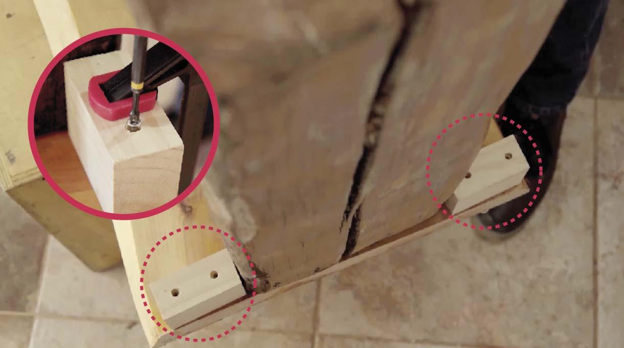 Usa la broca avellanadora y perfora el listón para facilitar la entrada de los tornillos y asegura la pieza con la prensa sargento para que no se mueva