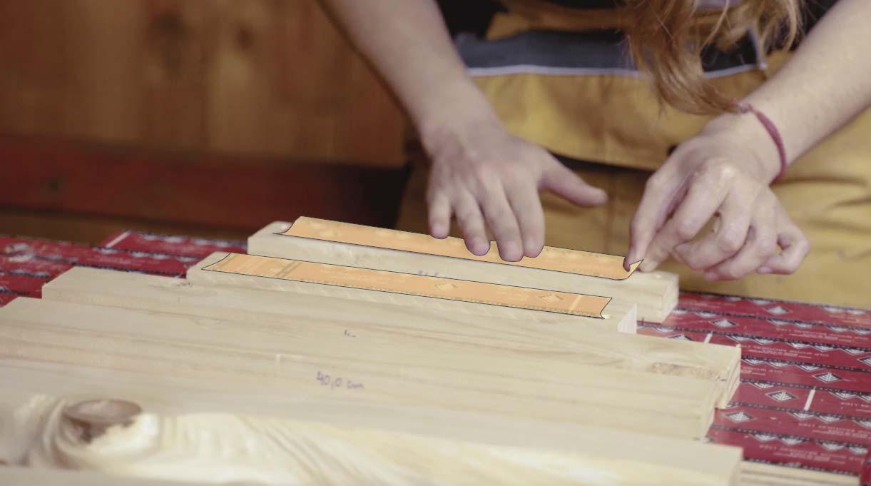 """colocar cinta térmica en los listones de 1"""" x 2"""" que sirven para armar el molde"""