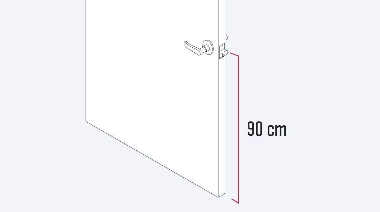 La altura recomendada del pestillo es de 90 cm desde el piso para la accesibilidad universal