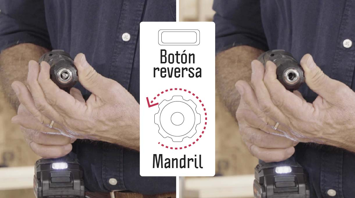 Para abrir y cerrar el mandril de taladros atornilladores de 12 V, debes tomarlo firmemente y accionar la reversa para abrirlo e insertar la broca