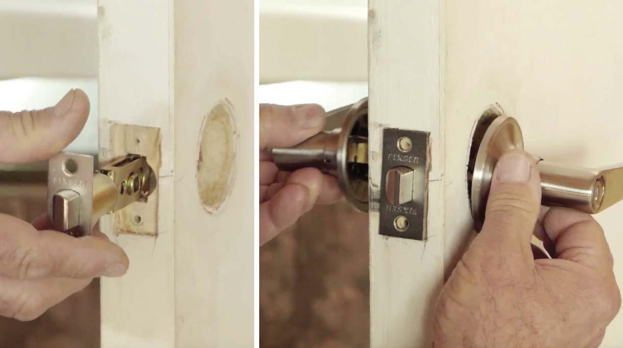 Retira el pomo de la puerta, coloca primero el pestillo y luego inserta los mecanismos, uno por cada lado. Embute la parte frontal de la manilla. Luego, encaja las manillas entre sí.Traba el pestillo y atornilla un mecanismo contra el otro para finalizar la instalación