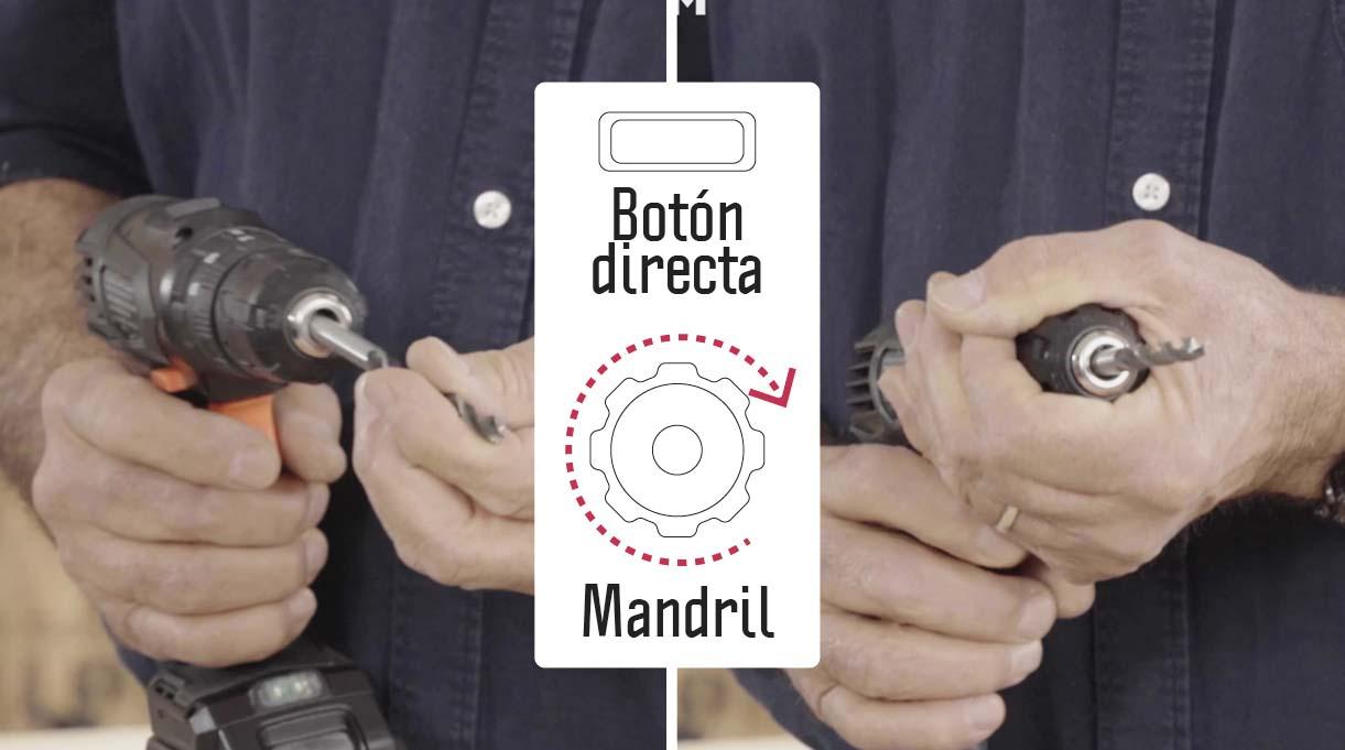 Para abrir y cerrar el mandril de taladros atornilladores de 12 V, debes tomarlo firmemente y accionar la reversa para abrirlo e insertar la broca. Luego, para asegurarla debes accionar la herramienta en directa