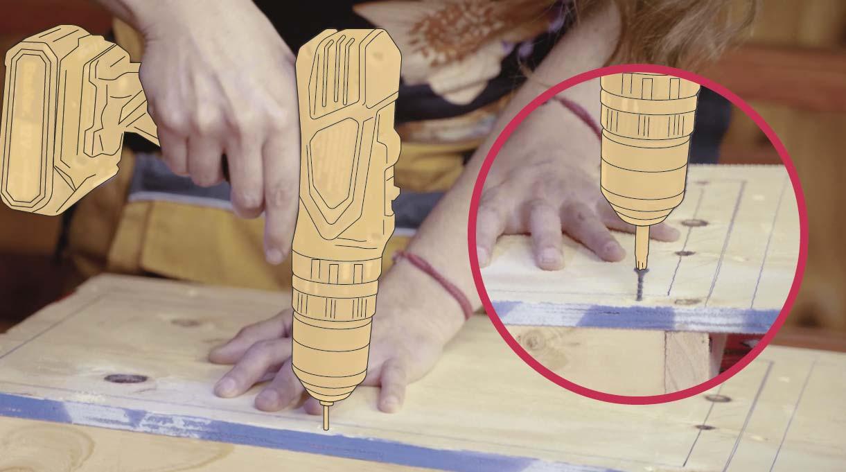 Fijar el molde a la base de madera primero avellanando y luego atornillándolo