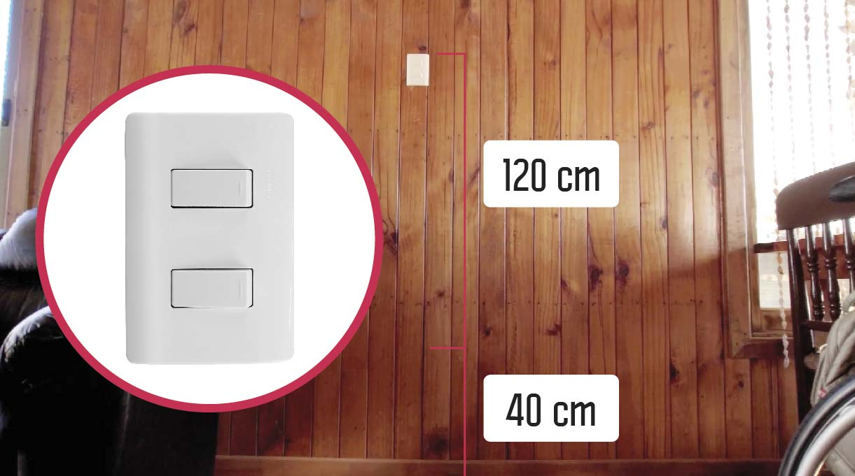 La altura mínima desde el piso es de 40 cm, y la máxima es de 120 cm, para un enchufe y un interruptor