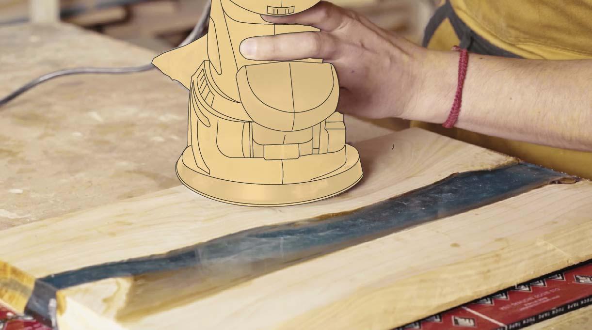 Lijar con escala de lijado la tabla de picar con resina