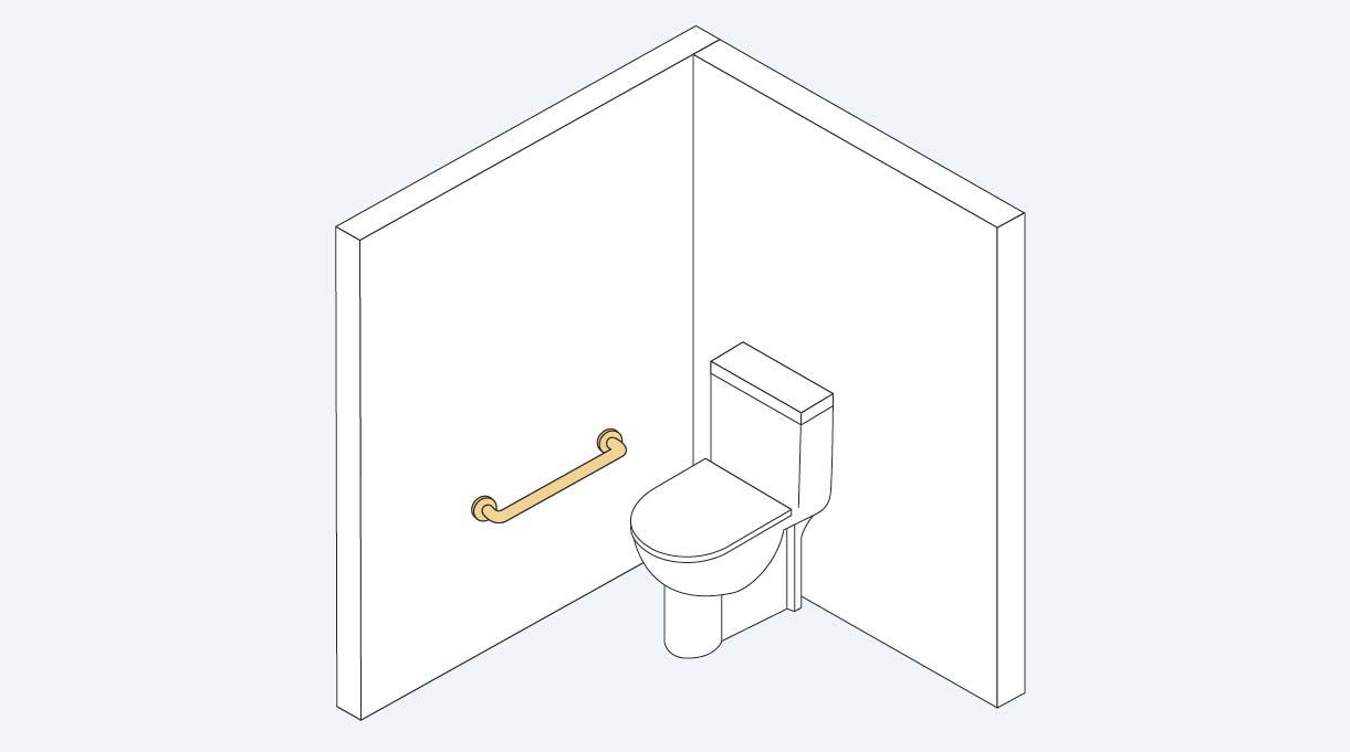 WC y barra de seguridad recta instalada en el muro