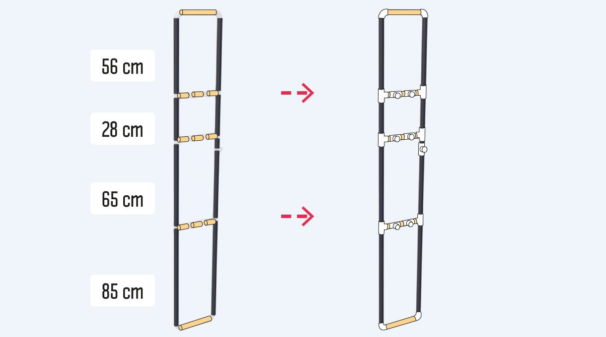 las columnas del estante de cobre se hacen con 4 trozos de 85 cm, 4 de 65 cm, 4 cortes de 28 cm, y cuatro trozos de 56 cm de tubos de cobre