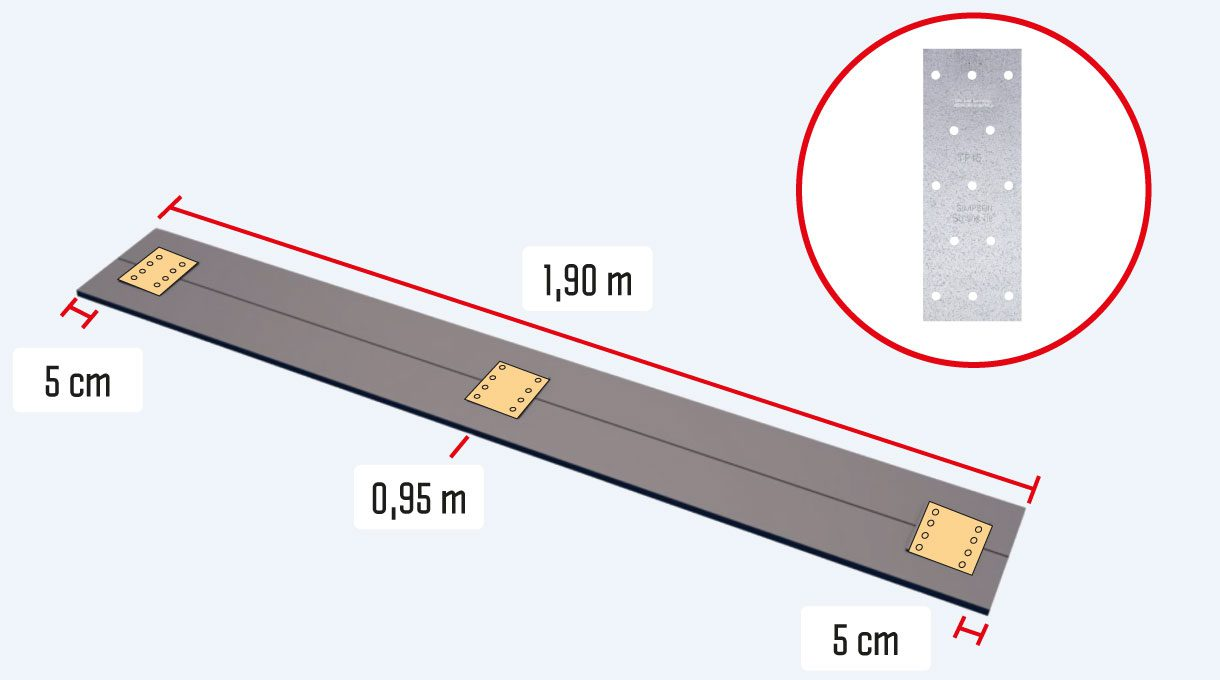 Para tener el ancho adecuado para la repisa del tv, se unen 2 tablas de roble a lo largo con 3 platos clavable Strong Tie, 2 a 5 cm de la orilla y uno en el centro