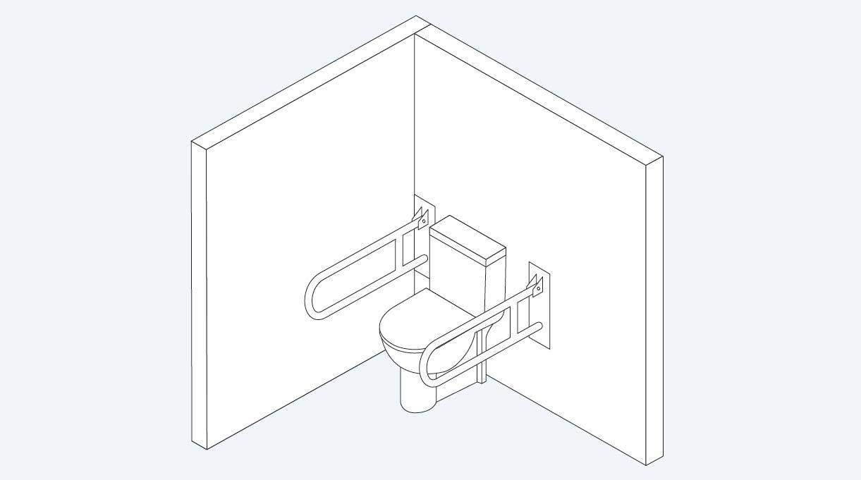 WC con dos barras abatibles instaladas, una a cada lado