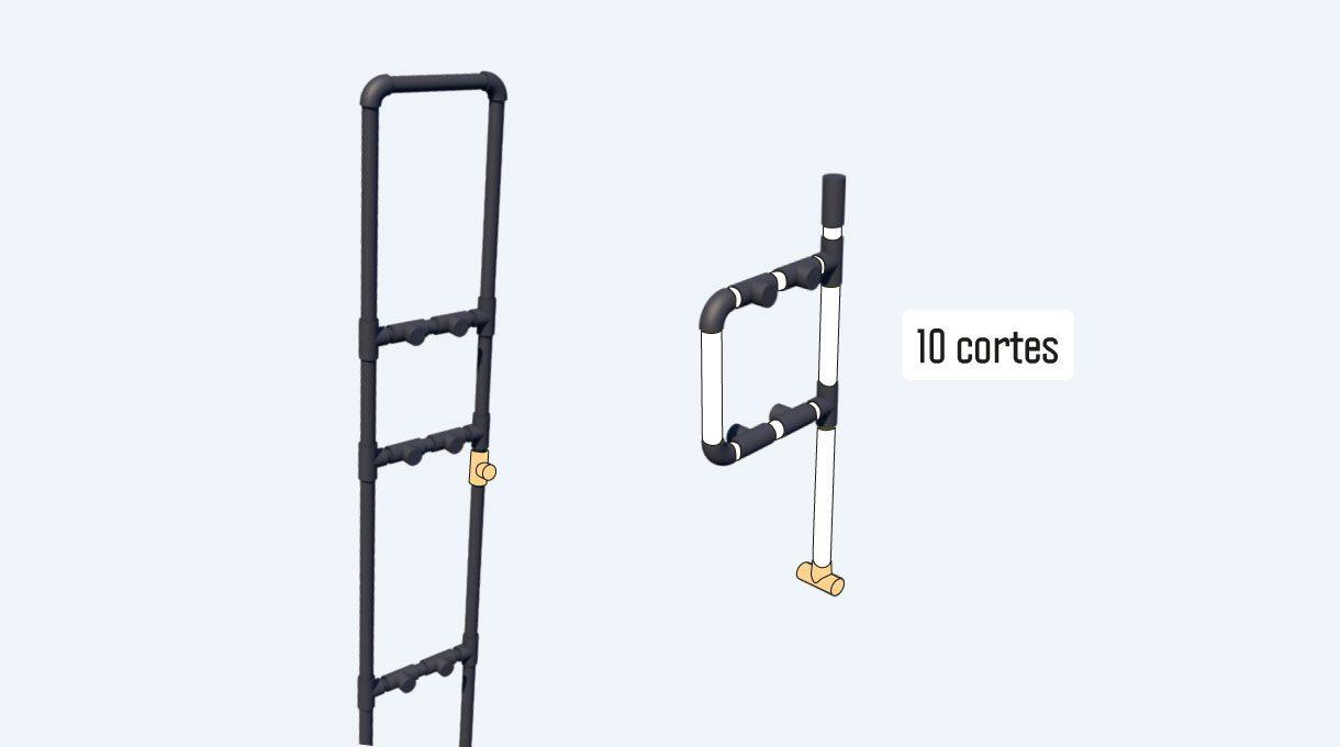 las columnas del estante de cobre consideran al medio una columna de refuerzo, que construirás con 2 puntos intermedios de 3 tubos, por lo que esta columna consta de 10 cortes