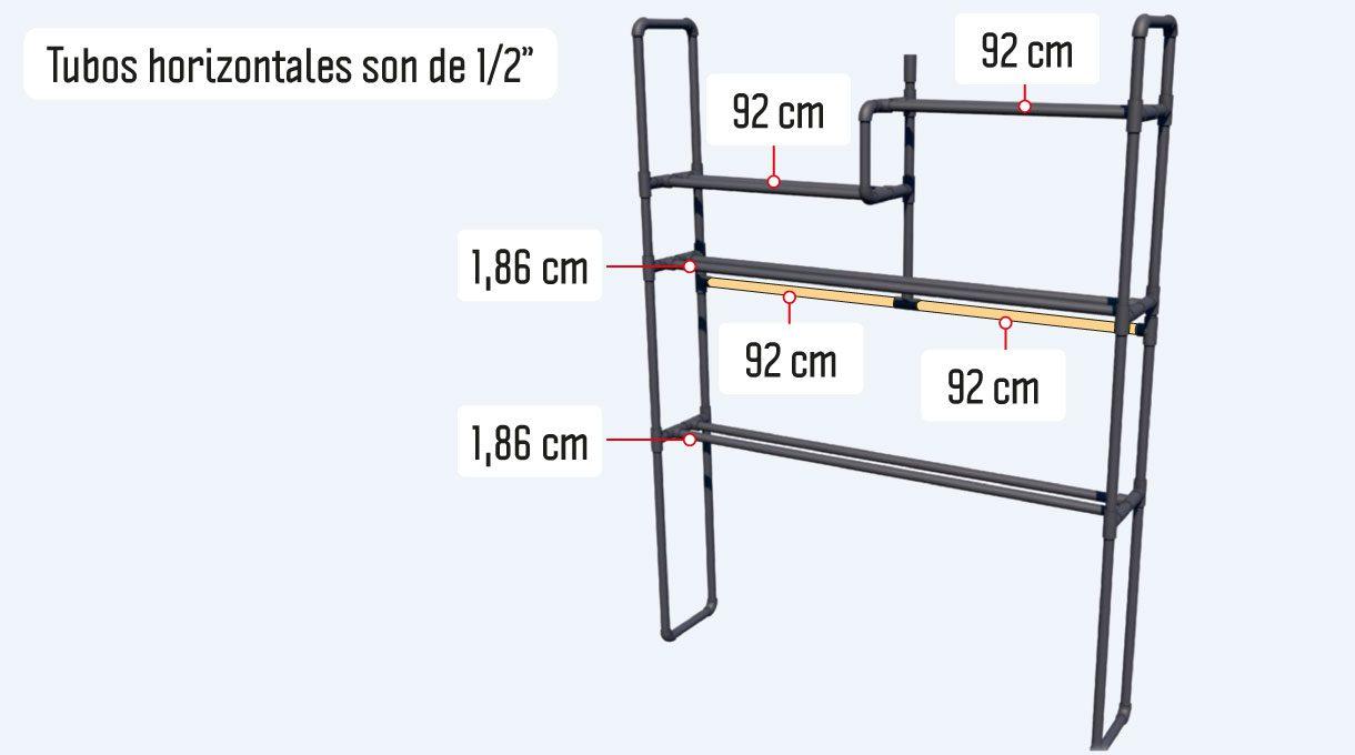 """Las columnas nombradas en el paso 3 sostendrán 4 repisas, las que están hechas de 2 tubos de ½"""" cada uno. También hay un tubo de refuerzo que está dividido en 2 partes y por ello, se necesitarán en total 10 cortes"""